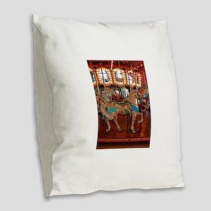 Santa Monica Pier Carousel Burlap Throw Pillow