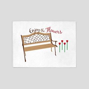Enjoy the flowers 5'x7'Area Rug