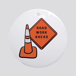 Road work ahead traffic cone Ornament (Round)