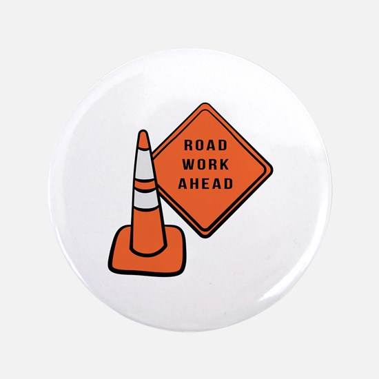 Road work ahead traffic cone Button