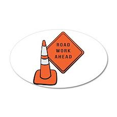Road work ahead traffic cone Wall Decal