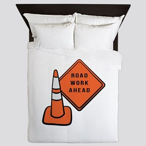 Road work ahead traffic cone Queen Duvet