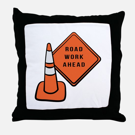 Road work ahead traffic cone Throw Pillow