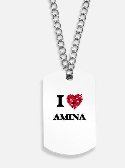 I Love Amina Dog Tags