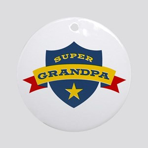 Super Grandpa Shield Ornament (Round)