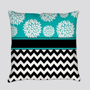 Teal Black Blooms Chevron Everyday Pillow