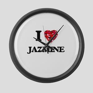 I Love Jazmine Large Wall Clock