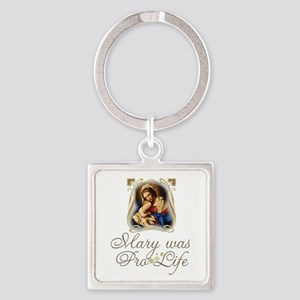Mary was Pro-Life (vertical) Keychains