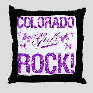 Colorado Girls Rock Throw Pillow