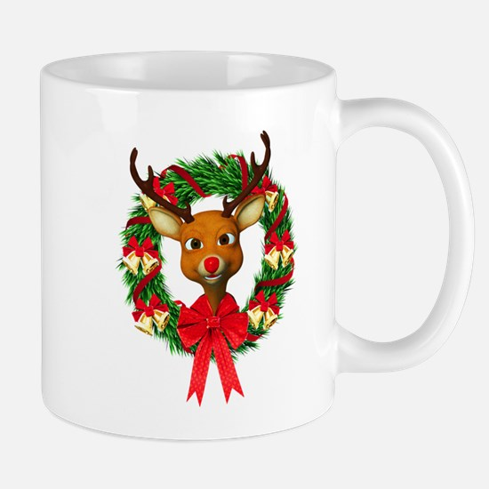 Rudolph the Red Nosed Reindeer Wreath Mug