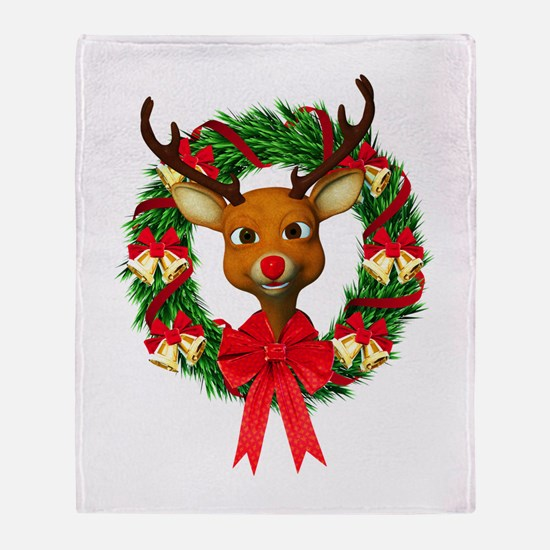 Rudolph the Red Nosed Reindeer Wreat Throw Blanket