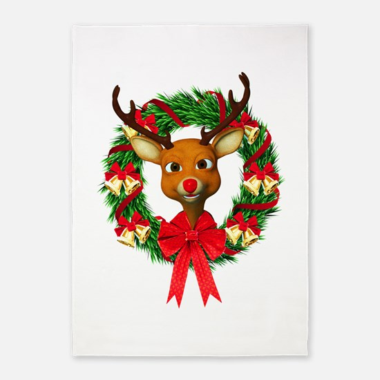 Rudolph the Red Nosed Reindeer Wrea 5'x7'Area Rug