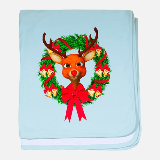 Rudolph the Red Nosed Reindeer Wreath baby blanket