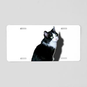 Black & white cat Aluminum License Plate
