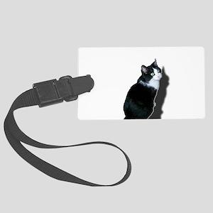 Black & white cat Large Luggage Tag