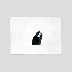 Black & white cat 5'x7'Area Rug