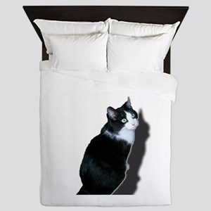 Black & white cat Queen Duvet