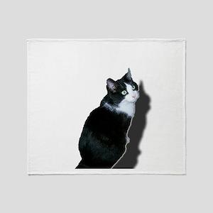 Black & white cat Throw Blanket