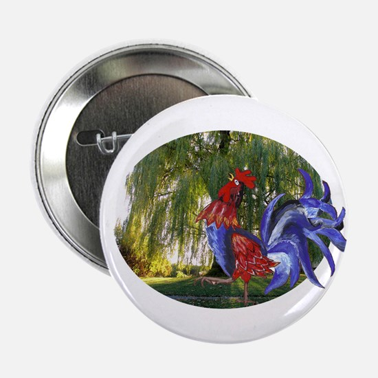 """Rooster and it's willow tree 2.25"""" Button (10 pack"""