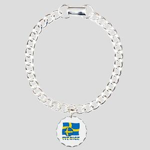 Sverige Swedish Soccer B Charm Bracelet, One Charm