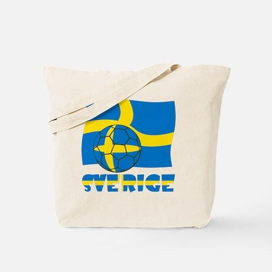 Sverige Swedish Soccer Ball and Flag Tote Bag