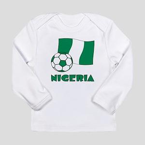 Nigeria Flag and Soccer Long Sleeve T-Shirt