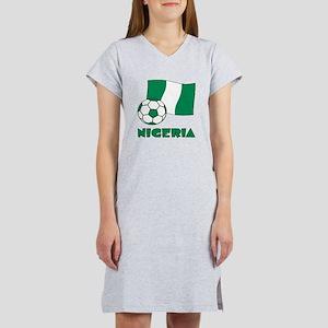 Nigeria Flag and Soccer Women's Nightshirt