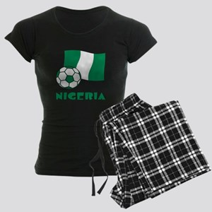 Nigeria Flag and Soccer Women's Dark Pajamas