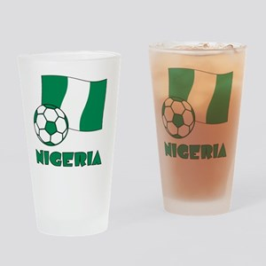 Nigeria Flag and Soccer Drinking Glass
