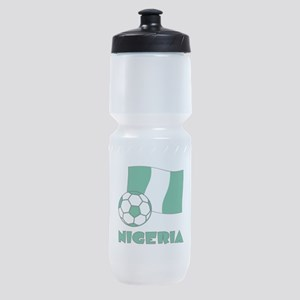 Nigeria Flag and Soccer Sports Bottle