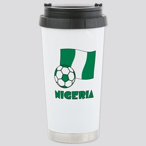 Nigeria Flag and Soccer Stainless Steel Travel Mug