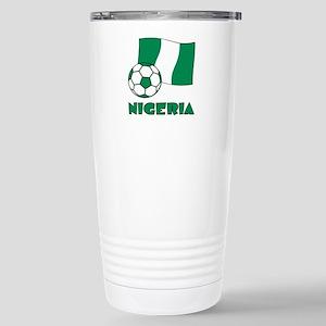 Nigeria Flag and Soccer Stainless Steel Travel Mug
