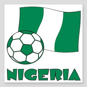 "Nigeria Flag and Soccer Square Car Magnet 3"" x 3"""