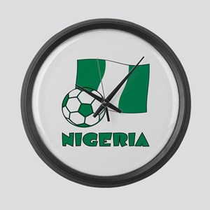 Nigeria Flag and Soccer Large Wall Clock