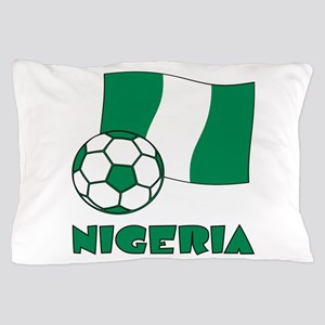 Nigeria Flag and Soccer Pillow Case