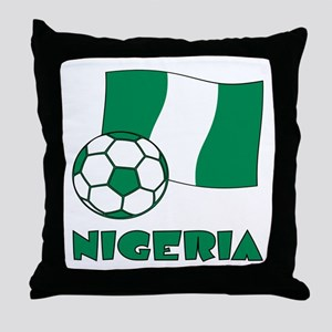 Nigeria Flag and Soccer Throw Pillow