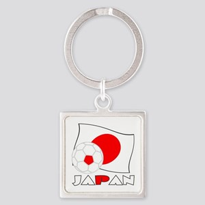 Japanese Soccer Ball and Flag Square Keychain