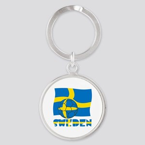 Swedish Soccer Ball and Flag Round Keychain