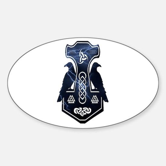 Lightning Bolt Thor's Hammer Bumper Stickers
