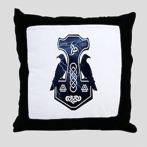 Lightning Bolt Thor's Hammer Throw Pillow