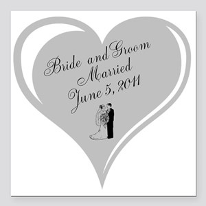 """Wedding Bride And G Square Car Magnet 3"""" X 3&"""