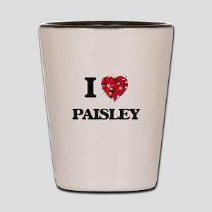 I Love Paisley Shot Glass