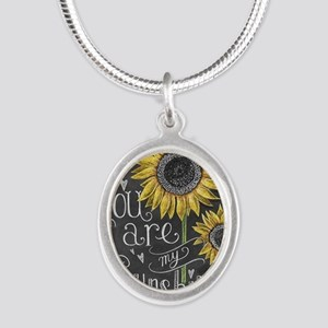 You are my sunshine Silver Oval Necklace
