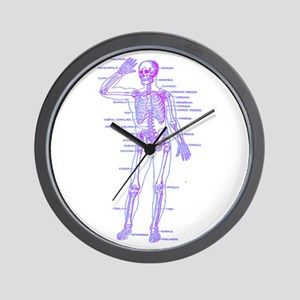 Red Blue Skeleton Body Diagram Wall Clock