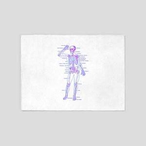 Red Blue Skeleton Body Diagram 5'x7'Area Rug