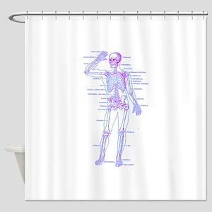 Red Blue Skeleton Body Diagram Shower Curtain