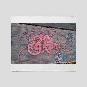 Graffiti Octopus Throw Blanket