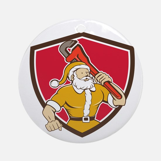 Santa Claus Plumber Monkey Wrench Shield Cartoon O