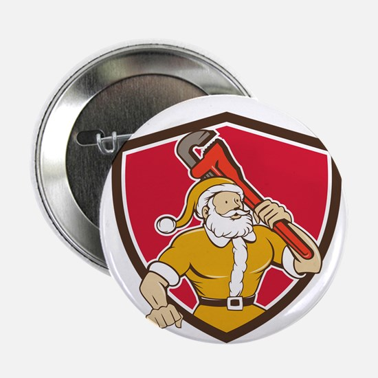 Santa Claus Plumber Monkey Wrench Shield Cartoon 2