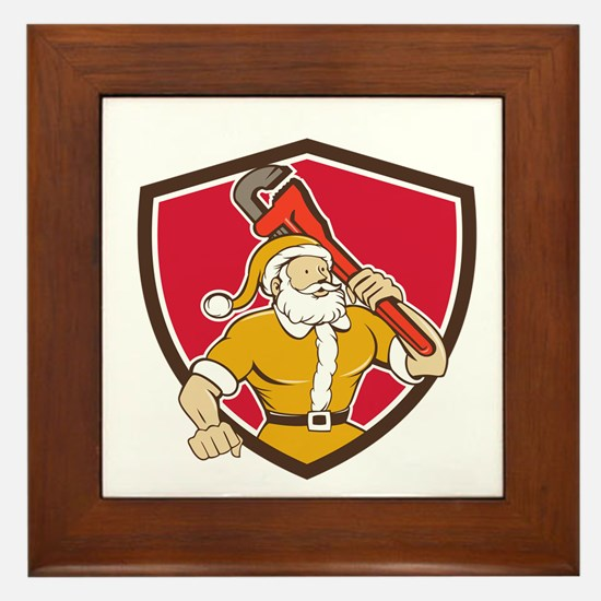 Santa Claus Plumber Monkey Wrench Shield Cartoon F
